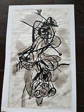 ABSTRAIT  ENCRE / GOUACHE signe MICHEL CHAPUIS 1958 cote benezit