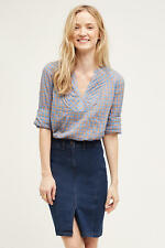 NEW ANTHROPOLOGIE Devon Popover Gingham Blouse 0 XS by Holding Horses Blue