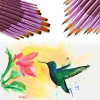 12Pcs/SET Artist Nylon Hair Paint Brush Watercolor Acrylic Oil Drawing Art