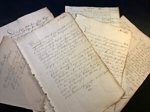 LOT OF SEVEN ANTIQUE DOCUMENTS 1800s - 22 pages