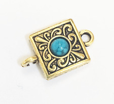 6 antique gold square with Turquoise  connector, bulk connectors