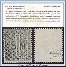 Precursori San Marino / Italia Regno cent. 1 verde Torino F1T Certificato Usato
