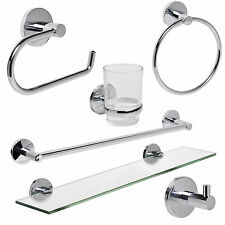 polished chrome bathroom accessories set round modern concealed fittings