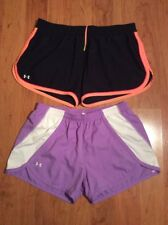 Under Armour Women's Headgear Running Tempo Shorts Lot Of Two PurpleBlack Size L