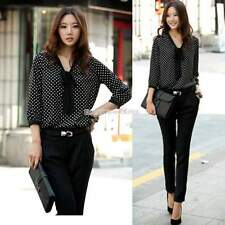 Women Bowknot Neck Polka Dots Long Sleeve Chiffon Blouse Shirt Loose Tops EN24H