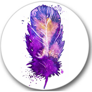 Purple Feather Sticker Seals No.891, party stickers, 12 small round stickers