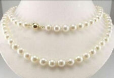 14K Solid Gold 8-9mm Natural AAA White Akoya Pearl Necklace 34""