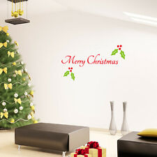 Merry Christmas Wall Quote Decal Removable Sticker Xmas Holly Leaf Xmas Mural