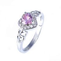 Fashion Women Heart Pink White Topaz Gemstone Silver Ring Jewelry Gift Sz 6 7 8