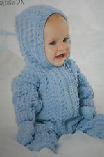 Baby's All-in-One Hooded Suit and Mits Knitting Pattern