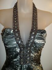 Sky Clothing Brand XS NWT Top Halter Rhinestone Crystal Peacock Club Party Vegas