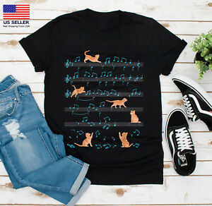 Cute Cat Kitty Playing Music Note Clef Musician Art T-Shirt Unisex Size S-3XL