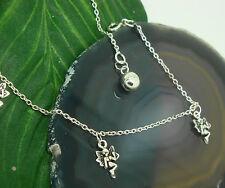 Fußkettchen mit Elfen Fee 925 Silber Länge ca. 26 cm Silber Fusskette