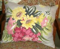 Vintage Barkcloth Pillow 1930's Pinks Cottage Shabby Chic Free Shipping