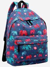 Mochila Azul Mochila Chica Elefante Estampado De Elefantes De Lona Azul Marino Rojo Bolso Escolar