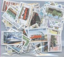 LOT DE 100 TIMBRES DIFFERENTS - THEME TRAIN CHEMIN DE FER