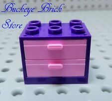 NEW Lego Purple Cupboard Dresser Nightstand 3X2X2 Pink Drawers  Container +NEW+