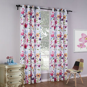 Floral Printed Blackout Curtains Thermal Insulated Window Drape Sanded Fabric