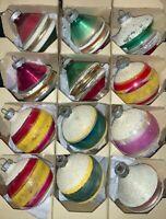 VINTAGE DOZEN SHINY BRITE GLASS CHRISTMAS ORNAMENTS - MICA, UFO, ROUND STRIPES