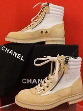 NIB CHANEL BEIGE SUEDE CANVAS LACE UP CC LOGO COMBAT 2X ZIP ANKLE BOOTS 35.5