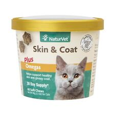 NaturVet Skin and Coat Plus Omegas for Cats 60 ct Soft Chews Made in USA