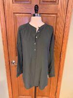 Ann Taylor LOFT Tunic Shirt M Green Soft Oversized Roll Tab Sleeve Blouse Top
