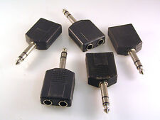 6.35mm Jack Plug to 2 x 6.35mm Jack Sockets Stereo Splitter 5 Pieces OM0705