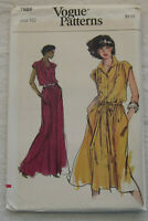 Vintage Dress Sewing Pattern*Vogue 7689*Size 10*UNCUT/FF*gown long sleeveless