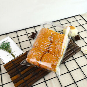 100 pcs, Bakery bags.Bread bag. Clear plastic bags with self-adhesive openings