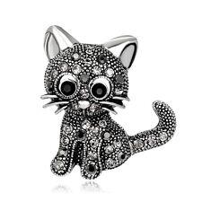 Women Girls Lovely Cat Kitten Rhinestone Collar Brooch Pin Jewelry Gift Healthy