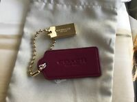 New Coach Burgandy Key Chain, Key Fob, Hang Tags Leather Gold Plated