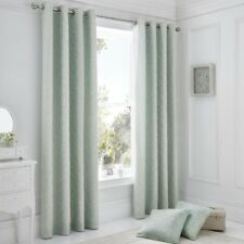 PAIR OF FULLY LINED EBONY FLORAL CURTAINS RING TOP EYELET NATURAL DUCK EGG BLUE