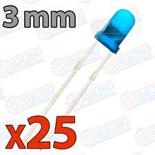 25x LED 3mm AZUL DIFUSO 20mA diodo diode diffuse blue