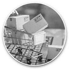 2 x Vinyle Autocollants 10 cm (BW) - ONLINE Shopping chariot drôle #43307
