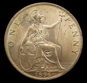 VICTORIA 1896 BRONZE VEILED HEAD PENNY - A/UNC