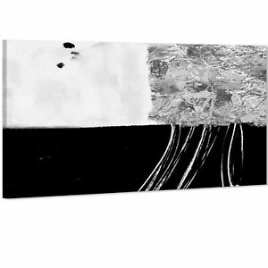 Abstract Black and White Grey Illustration Canvas Art Pictures