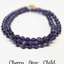 Polished genuine natural untreated purple amethyst bead necklace c1940's