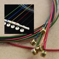 6pcs Set New Rainbow Colorful Color Strings For Acoustic Guitar Hot Fashion