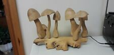 LOVELY ITEM...WOODEN MUSHROOMS..TOADSTOOLS..WOOD...RUSTIC STYLE..DISPLAY...LARGE
