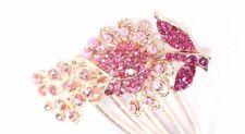 Brand New Vintage Floral Giant Hair Pin With Pink AB Cranberry Red Crystals