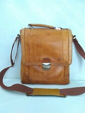 Unbranded Distressed Tan Leather Flap Crossbody Messenger Bag