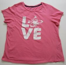 Yarn & Sea LOVE Girl's Short Sleeve Tee T Shirt XL Pink White Crewneck Cotton