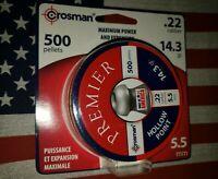 CROSMAN 22 CAL PREMIER HOLLOW POINT HUNTING AIRGUN PELLETS 14.3 gr (500 CT)