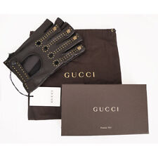 9 NEW $1,065 GUCCI Men's Black GOLD STUDS TIGER/CATS Leather FINGERLESS GLOVES