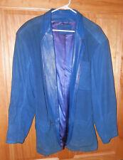 Claude Montana Pour Ideal Cuir Paris France c80s Blue 100% Lamb Blazer S 48 WOW!