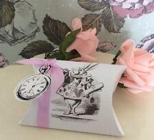 8 Alicia en el país de las Maravillas, Conejo Blanco Y Reloj favor/almohada cajas en blanco, crema