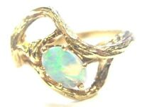 14K SOLID YELLOW GOLD OPAL SOLITAIRE RING SIZE 4.25