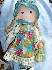 "15""  Vintage holly hobby hobbie doll cloth  toy blue dress old braided hair lot"