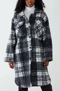 Womens Ladies Oversized Lagenlook Long Teddy Coat Shacket Shirt Dress Plus Size