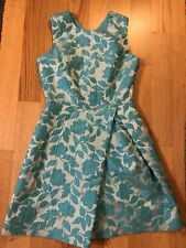 Pinko Italy Dress 42 6 Sleevless Flower Floral Silver Light Blue Gray